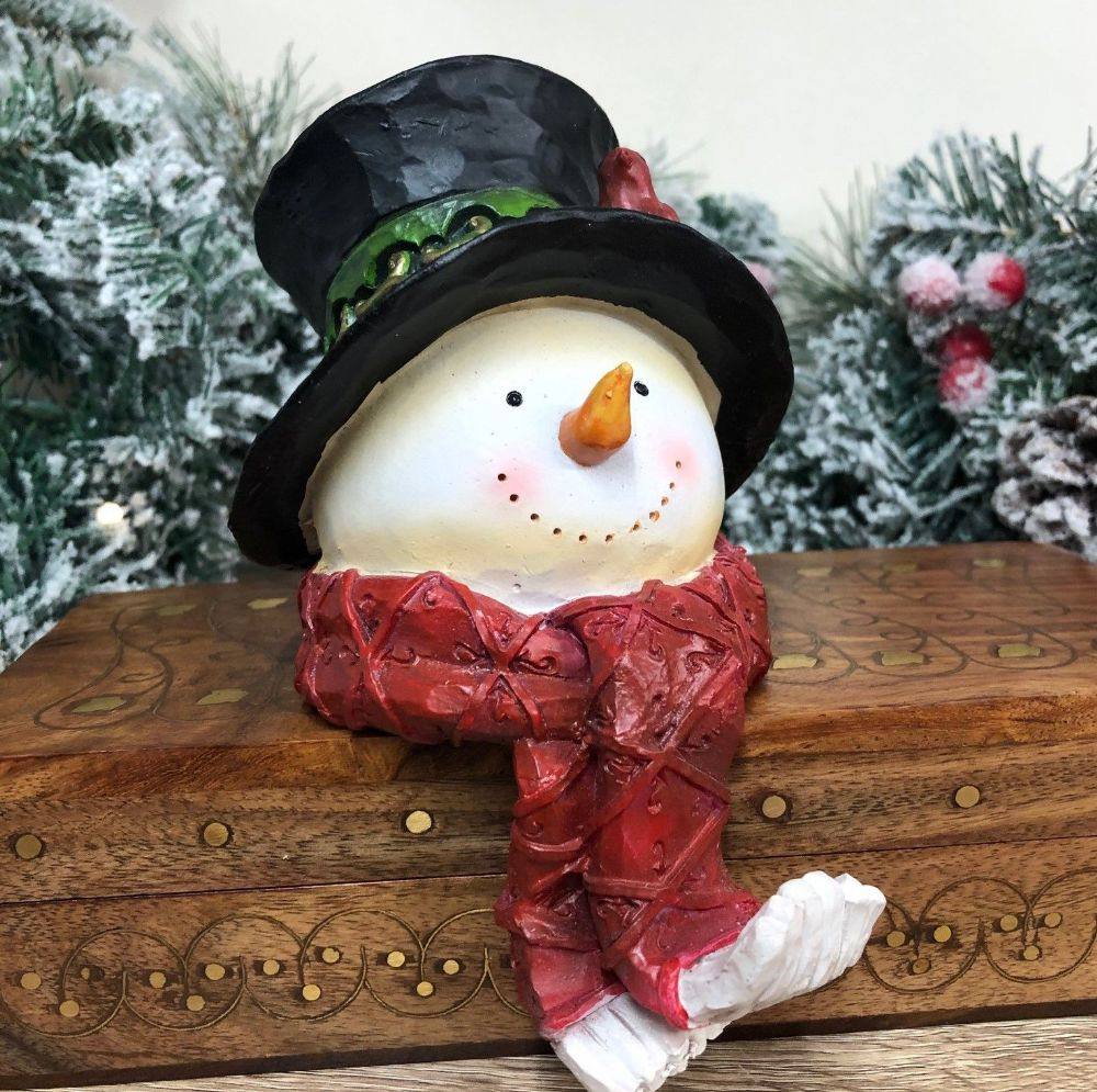 Snowman Head Shelf Sitter Christmas Mantel Ornament